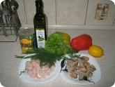 Кулинария: Ингредиенты для салата с креветками и мидиями