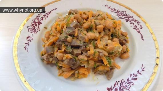 Кулинария: Салат из куриной печени с консервированной белой фасолью